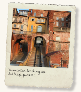 Funicular leading to hilltop piazza.